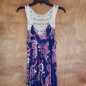 Charlotte Russe crochet back maxi dress